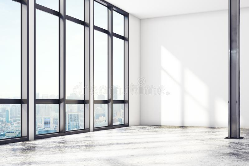 Modern loft gallery with empty wall royalty free illustration