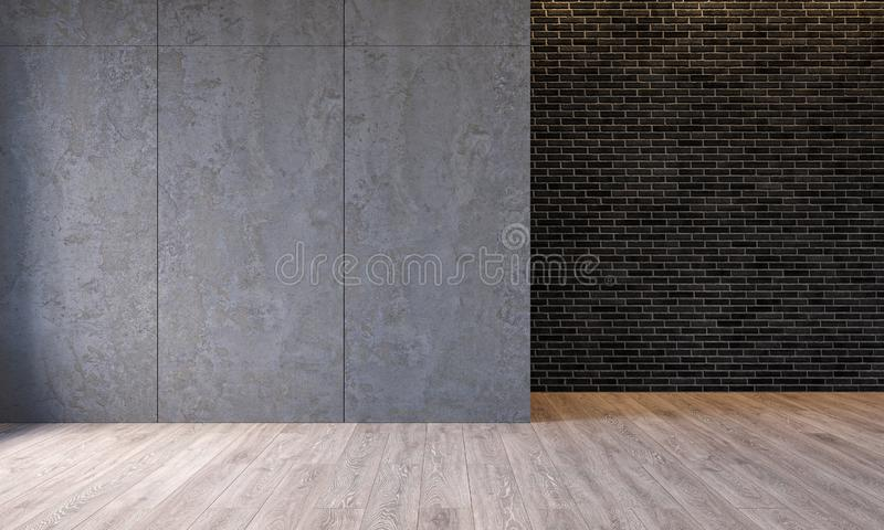 Modern loft interior with architecture concrete cement wall panels, brick wall, concrete floor. Empty room, blank wall. vector illustration