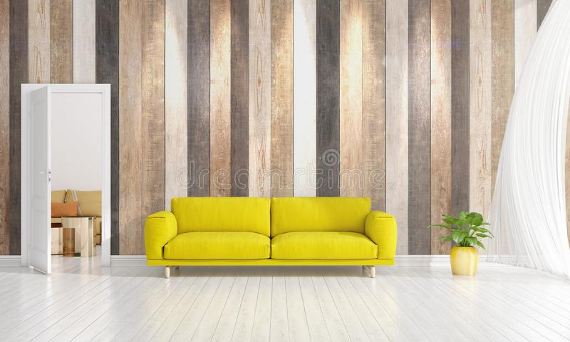 Download Modern Interior Design Of Livingroom In Vogue With Plant, Yellow  Divan, Copyspace.