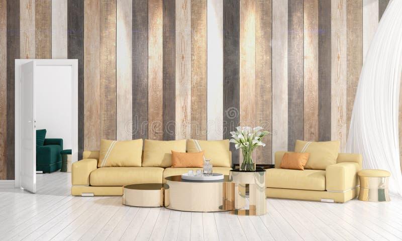 Modern interior design of livingroom in vogue with plant, yellow divan, copyspace. Horizontal arrangement. 3D rendering stock image