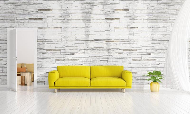 Modern interior design of livingroom in vogue with plant, yellow divan, copyspace. Horizontal arrangement. 3D rendering stock photo