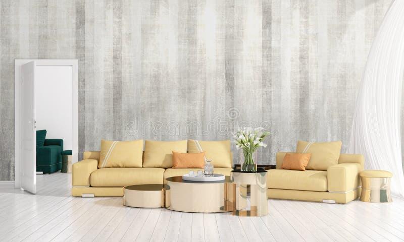 Modern interior design of livingroom in vogue with plant, yellow divan, copyspace. Horizontal arrangement. 3D rendering stock photos