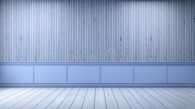 Modern loft interior,empty room,white wood flooring and blue frame with old wood wall background , 3d render. Modern loft interior ,empty room, white wood royalty free illustration