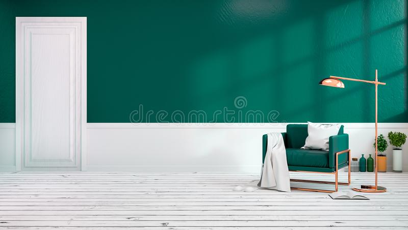 Modern loft interior of living room with green armchairs on white flooring and dark green wall.empty room,3d rendering vector illustration