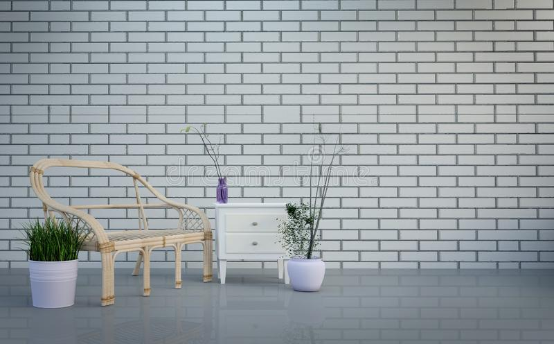 Modern loft interior ,living room, table and plants on bright gray bricks wall background , 3d rendering stock illustration