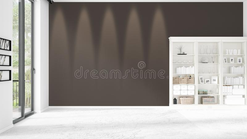 Modern interior in vogue with shelving and copyspace in horizontal arrangement. Modern loft interior in vogue with shelving and copyspace in horizontal vector illustration