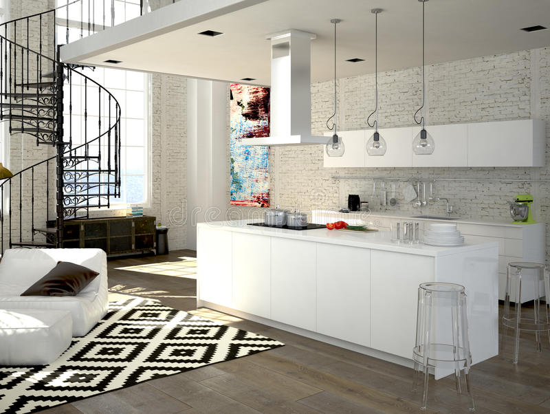 Modern loft with a kitchen. 3d rendering stock illustration