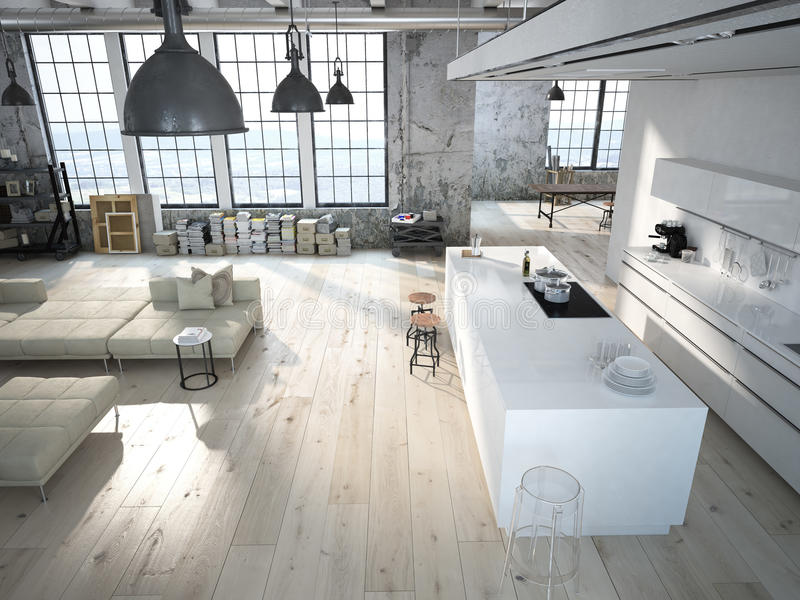 Modern loft with a kitchen 3d rendering stock photo for Percer carrelage sans casser