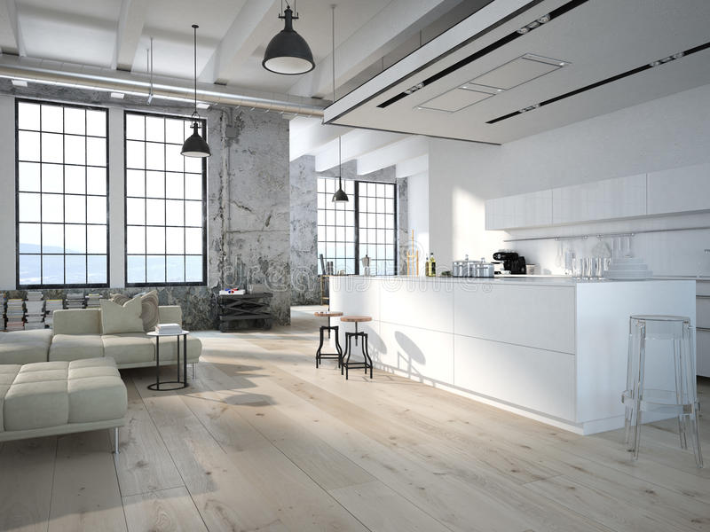 Modern loft with a kitchen .3d rendering stock illustration