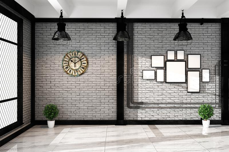 Modern loft living room with frame lamp and plnts, empty white brick wall - granite floor, Mock up interior. 3D rendering stock illustration