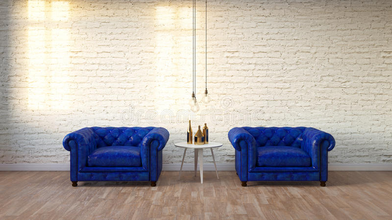 Modern loft living room with white brick wall ,3D render. Blue classic armchair in modern loft living room with white brick wall ,3D render royalty free stock image