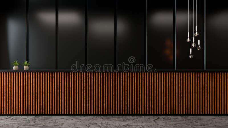 Modern Loft lobby interior design ,Dark wall and old wood counter bar /3d render vector illustration