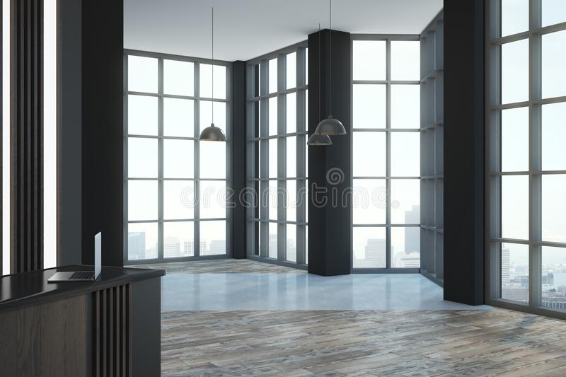 Modern loft office room. Empty modern loft style room with reception desk, floor-to-ceiling window and megapolis city view. 3D render stock illustration