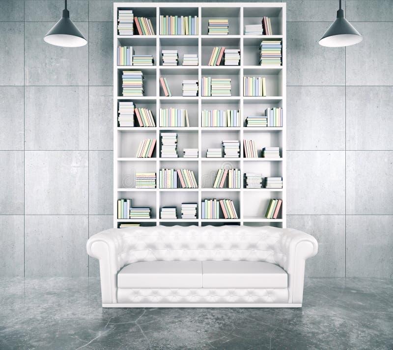 Modern loft room with big white bookcase vector illustration