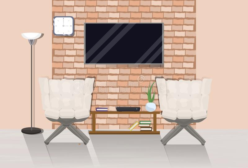 Modern Loft Room Interior With Two Cozy Armchairs, Tv Set On Wall Over Background With Copy Space. Vector Illustration royalty free illustration