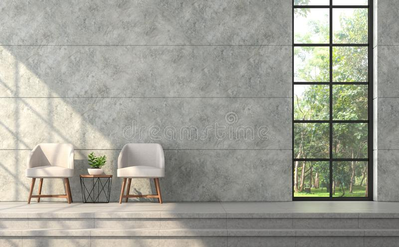Attractive Download Modern Loft Style Living Room With Polished Concrete Wall 3d  Render Stock Illustration   Illustration