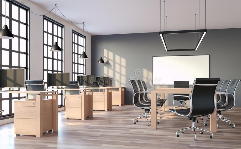 Modern loft style office with gray wall 3d render. The rooms have wooden floors and gray walls.Furnished with wood table and black leather chair. There are royalty free illustration