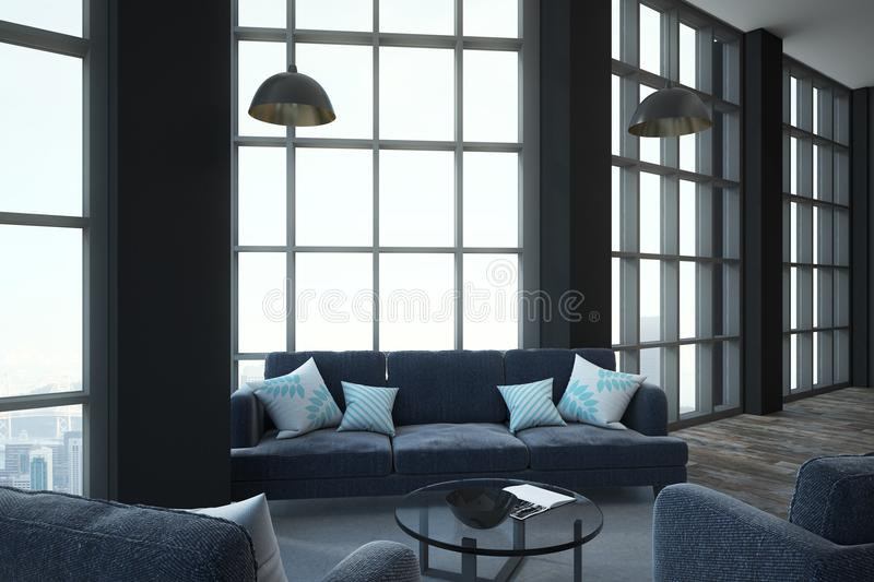 Minimalistic furniture in loft room. Modern loft style room with grey furniture, glass coffe table, floor-to-ceiling window, concrete floor and megapolis city stock illustration