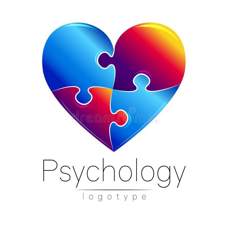 Modern logo av psykologi kontrollera hjärtaobjekt mer mycket min liknande portföljpusselserie Idérik stil Logotyp i vektor Inskri royaltyfri illustrationer