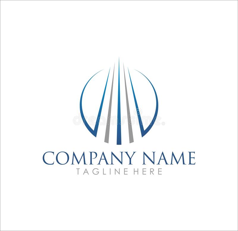 Modern business building company logo design. Modern logo design for building and real estate company or accounting and financial stock illustration