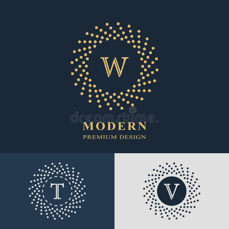Modern logo design. Geometric linear monogram template. Letter emblem W, T, V. Mark of distinction. Universal business sign. For brand name, company, business stock illustration