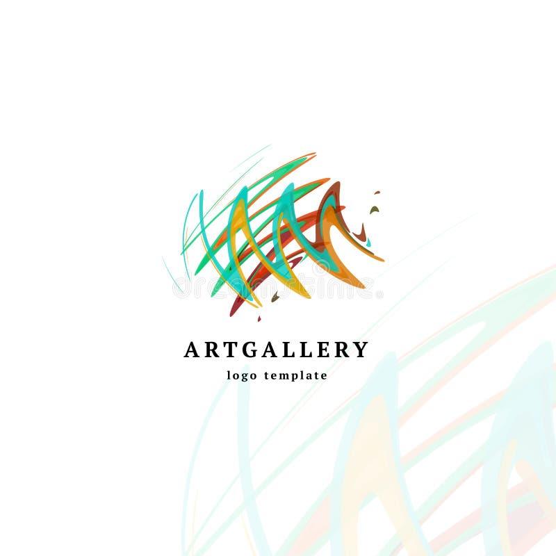 Modern logo för abstrakt konstgallerivektor Ovanlig isolerad målarfärgbildlogotyp Ljust färgrikt idérikt skissar royaltyfri illustrationer