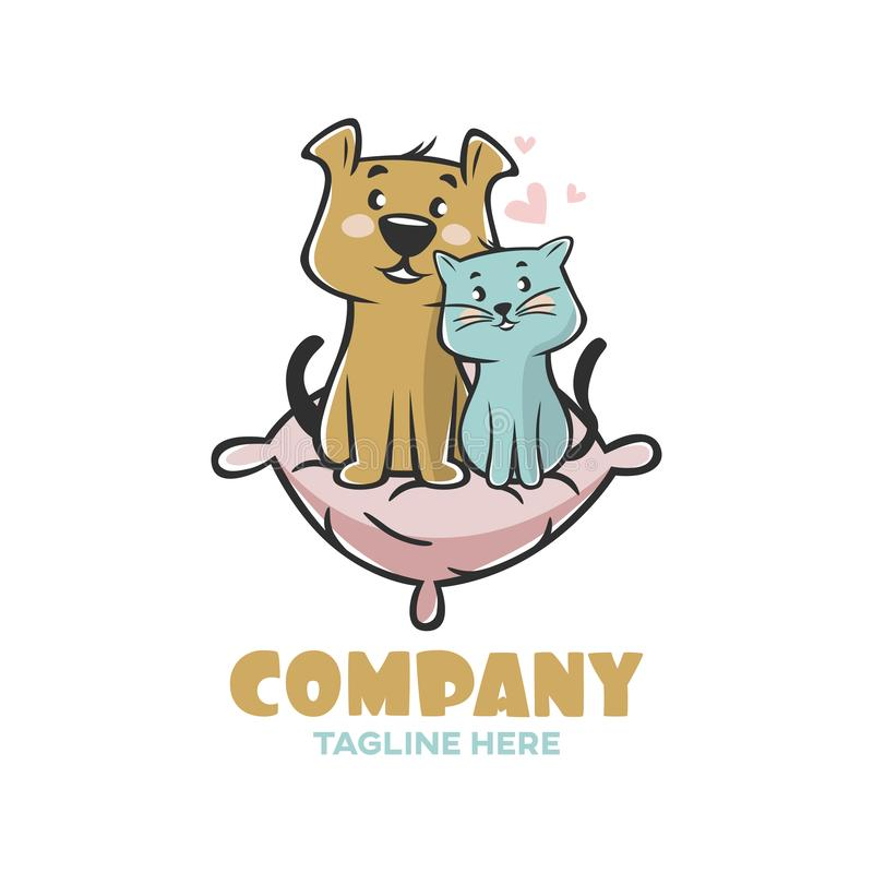 Modern logo pets cat and dog on the pillow. This design is scaled to large sizes stock illustration