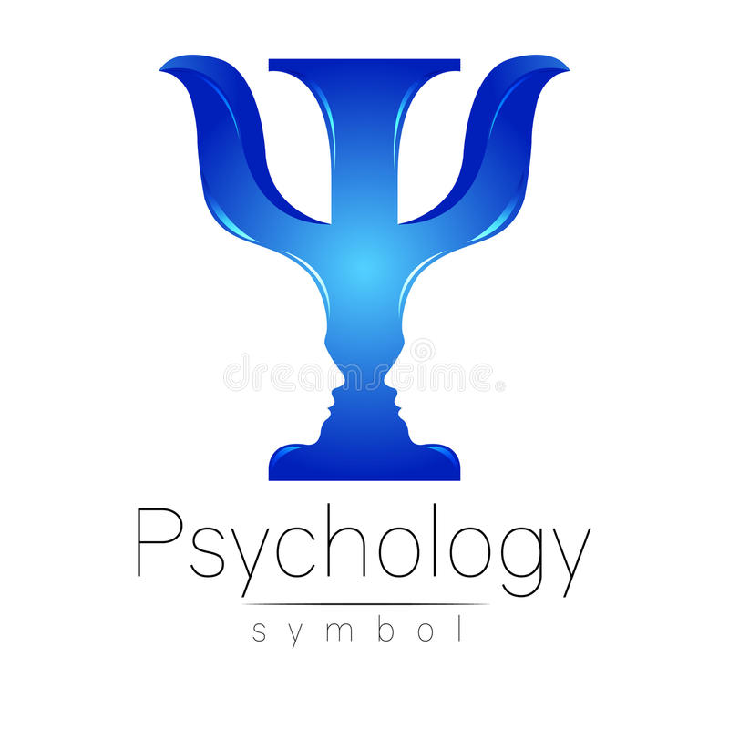 Modern logo of Psychology. Psi. Creative style. Logotype in vector. Design concept. Brand company. Blue color letter on royalty free illustration