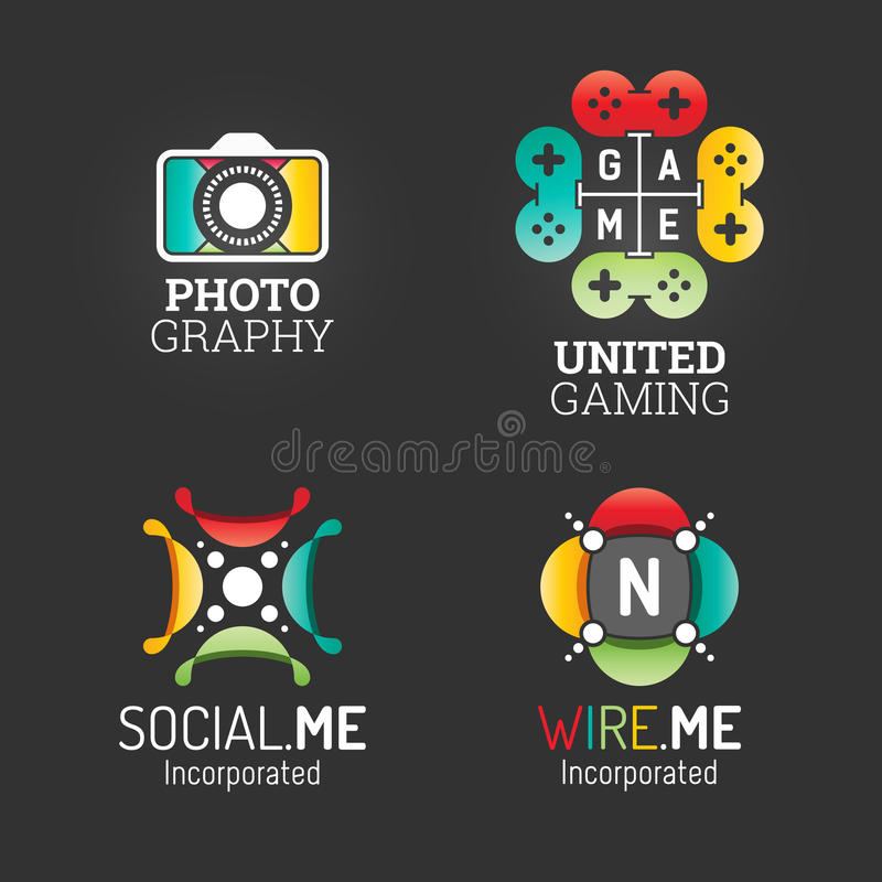 Modern Logo Set. Technology Communication Business Company Media Symbol Web Template. Logo Vector Elements Pack. Brand Icon Design. EPS10 stock illustration