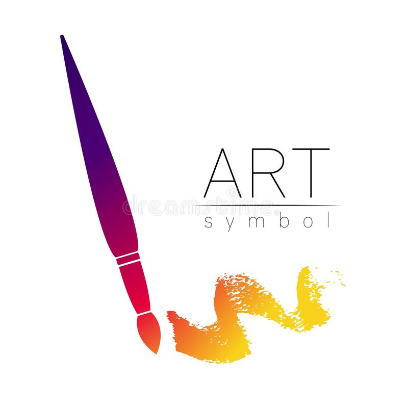 Modern Logo Sign of drawing Art. Paint Brush symbol. Icon in vector. Watercolor Design concept. Brand company. Violet vector illustration