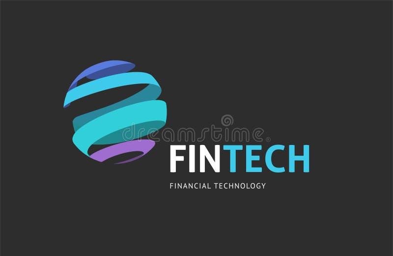 Modern logobegreppsdesign av fintechbransch, finansdigitiza stock illustrationer