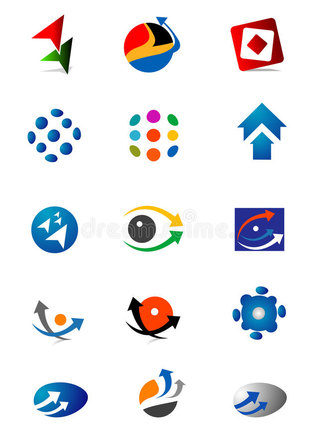 Series of colorful logos royalty free illustration