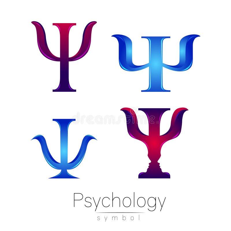 Modern logotypteckenuppsättning av psykologi PSI Idérik stil Symbol i vektor Inskriften av rött färgar lokaliserat över text av v stock illustrationer