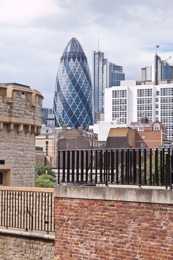 Modern London city office skyline by River Thames stock image