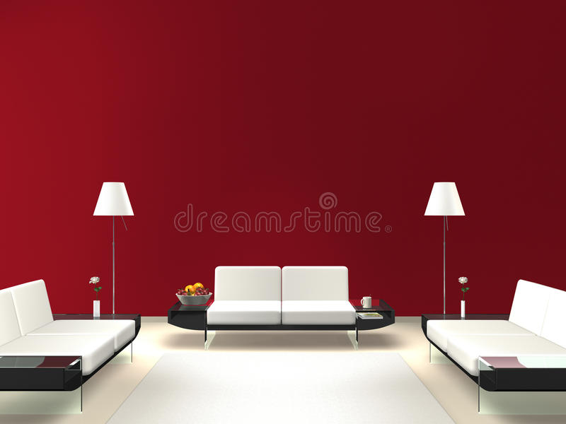 Modern lounge with red wall stock illustration