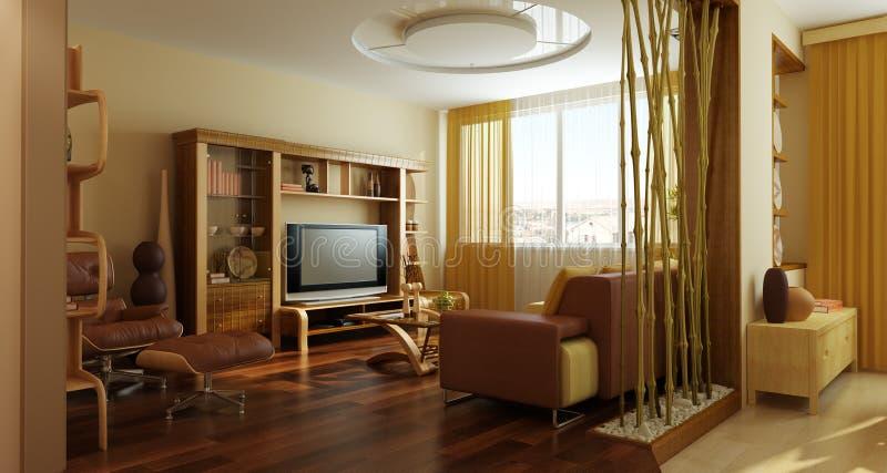 Modern lounge room interior 3d vector illustration