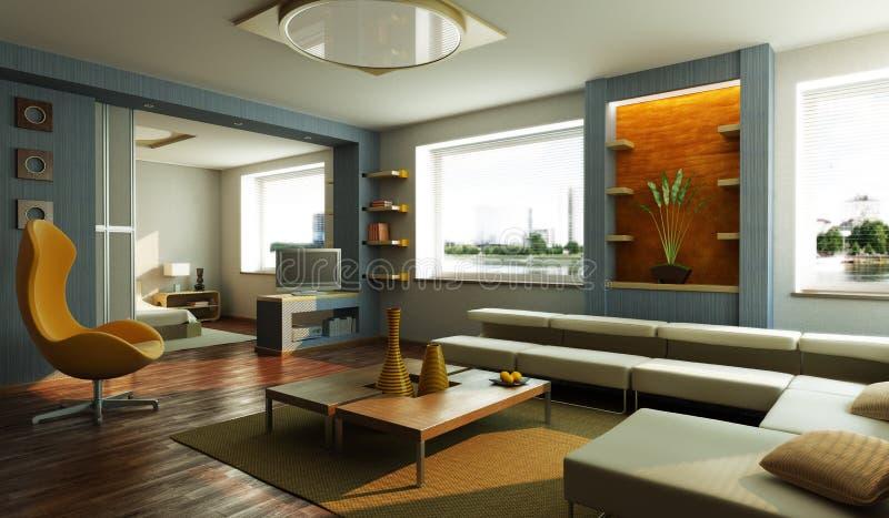 Modern Lounge Room Interior Stock Illustration - Illustration of ...