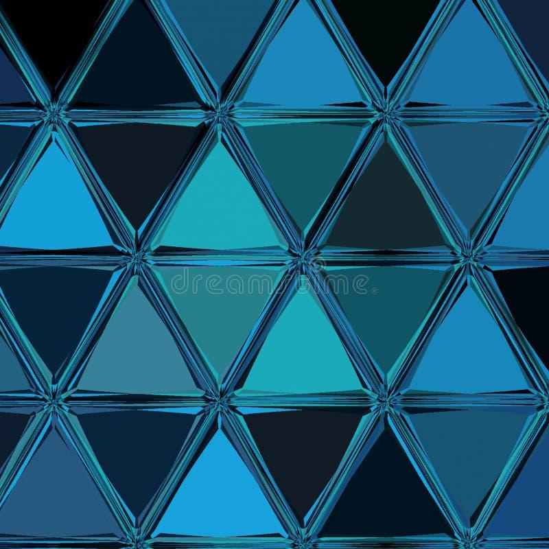 Modern lutningräkning i blåa och djupblå färger Retro kortbakgrund i fortlöpande mosaik för trianglar royaltyfri illustrationer