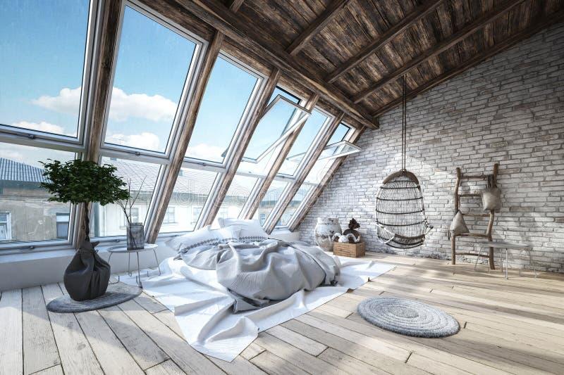 Modern, luxe, het industriële binnenland van de zolderslaapkamer stock illustratie