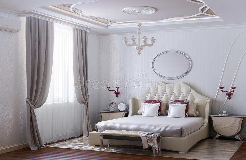 Modern and Luxurious Bedroom Design vector illustration