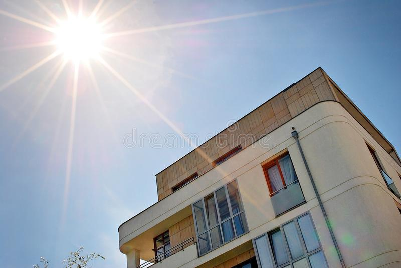 Modern, Luxury Apartment Building. Architectural details of modern apartment building stock photography