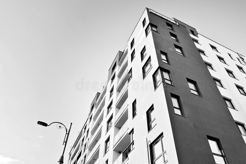 Modern, Luxury Apartment Building.Black and white. Architectural details of modern apartment building royalty free stock image