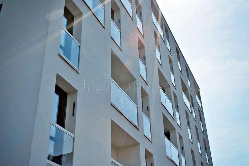 Modern, Luxury Apartment Building. House building and city construction concept: evening outdoor urban view of modern real estate homes stock images