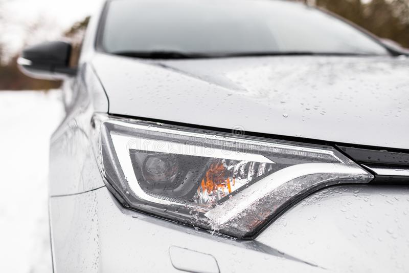 Modern and luxury car headlights. Exterior detail. royalty free stock photography