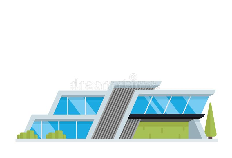 Modern Luxury Contemporary House Building Illustration stock illustration