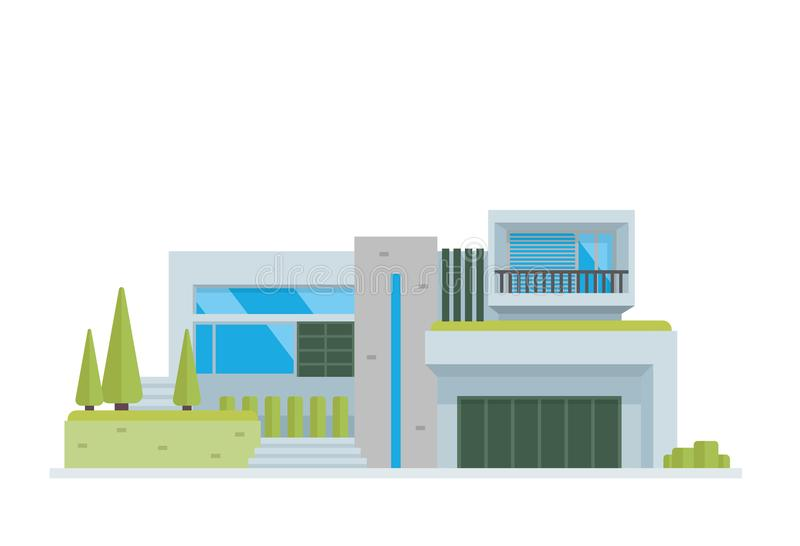 Modern Luxury Contemporary House Building Illustration. In White Isolated Background, suitable for Diagrams, Infographics, Illustration, And Other Graphic royalty free illustration