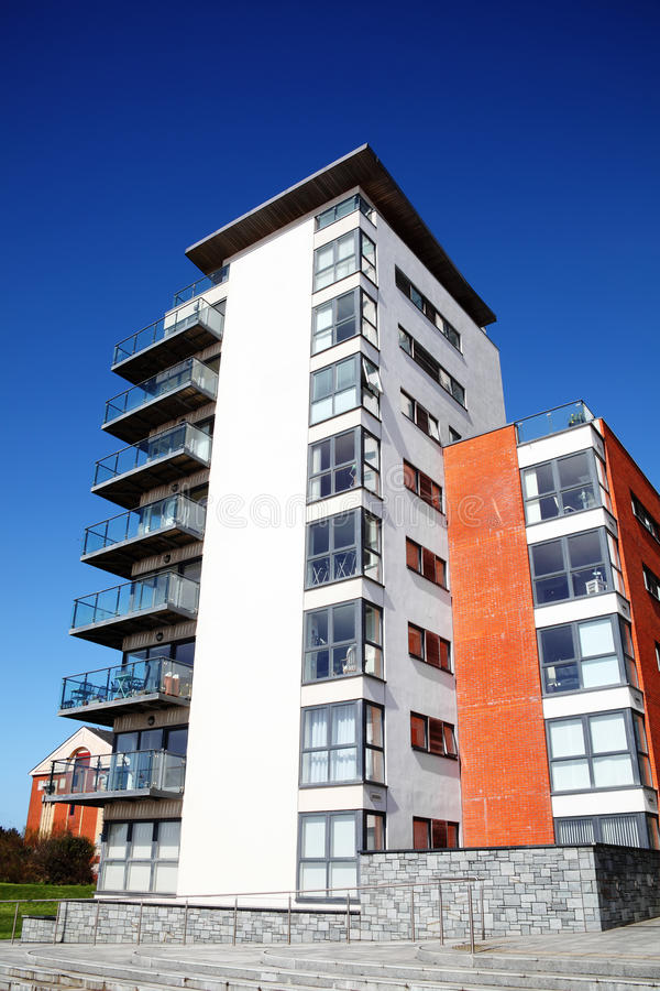 Modern luxury flat apartments. Swansea, Wales, UK – March 31, 2017: Modern luxury flat apartments in the city centre stock photo