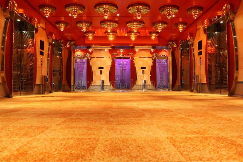 Download Modern Luxury Hall With Bright Ceiling And Lifts Stock Image - Image: 15522395
