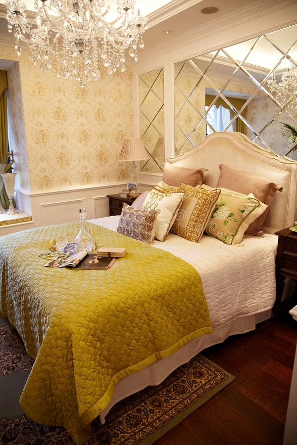 Modern luxury home bedroom. Luxury home with comfortable bedroom and modern decor stock photo