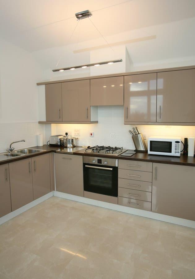 Modern Luxury Home Kitchen Interior. Interior of modern kitchen with integrated appliances stock image